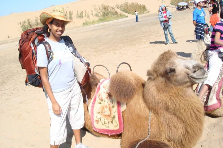 The first time I rode a camel Ningxia Province October 2009