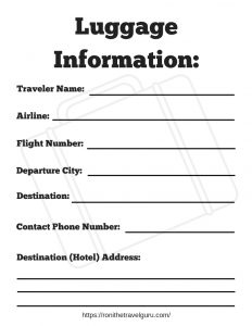 Luggage Information Printable
