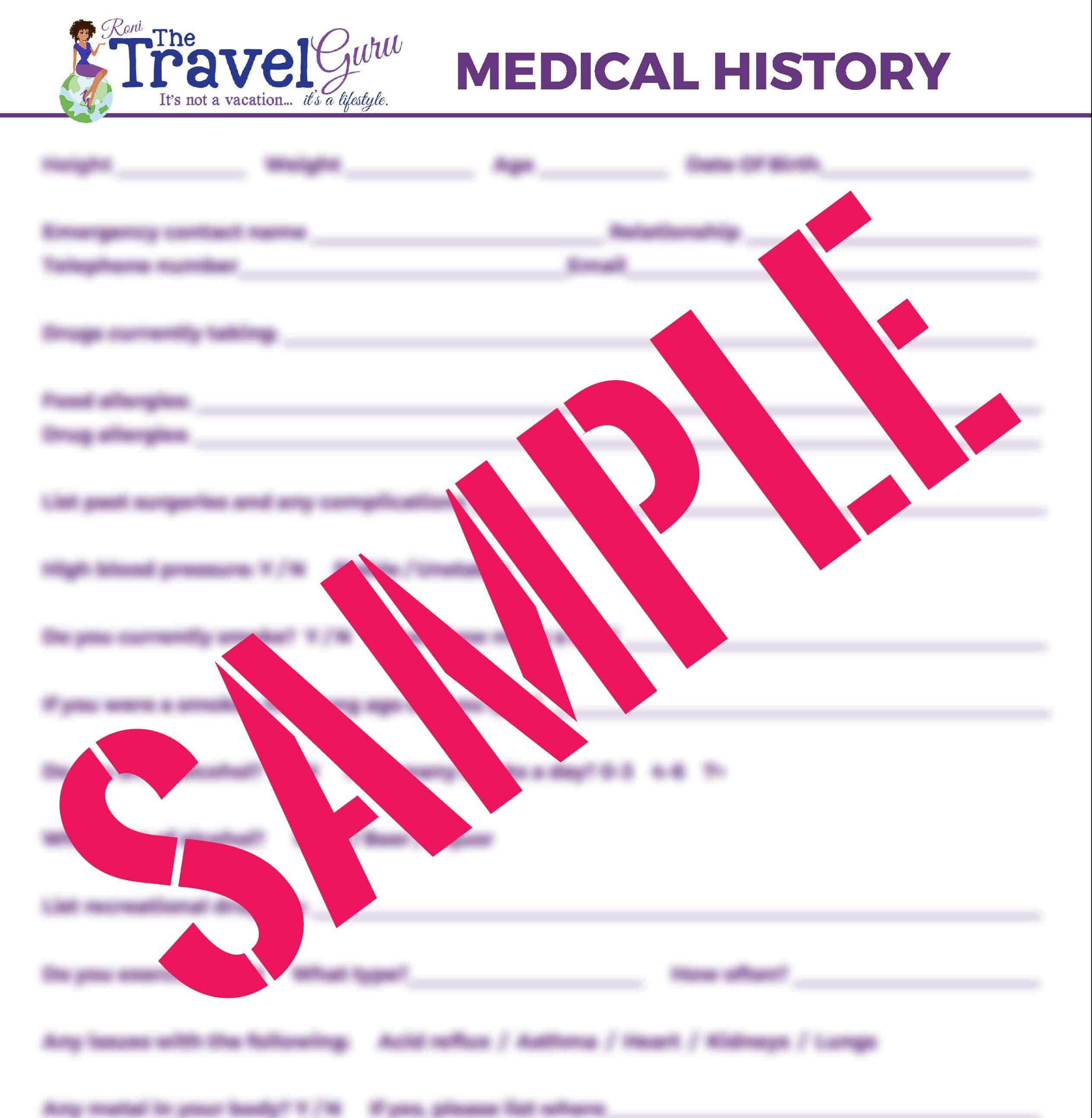 medical printable the travel guru