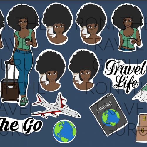 Carry-On Girl Digital Black Girl Art
