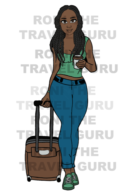 Digital black girl art Twists Hair Dark Skin Green PNG-2