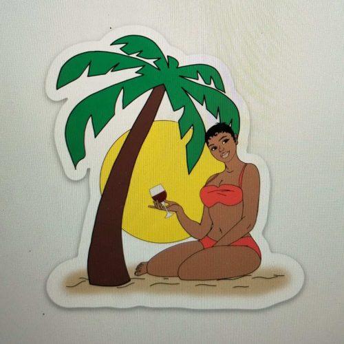 Beach Girl Sticker with short hair and peach bikini