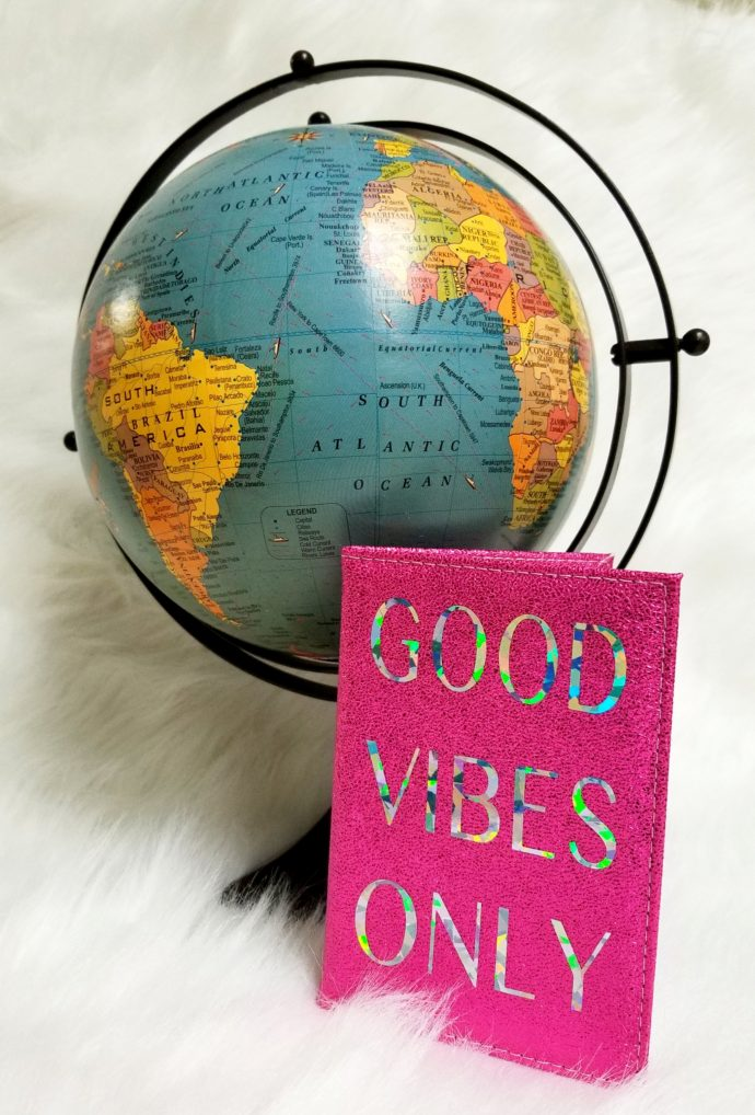 Good Vibes Only Pink Passport Cover